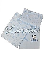Idea Regalo - Lenzuola Topolino Disney Caleffi Culla Lettino Doghe Mickey Boschetto Colore AZZURRO