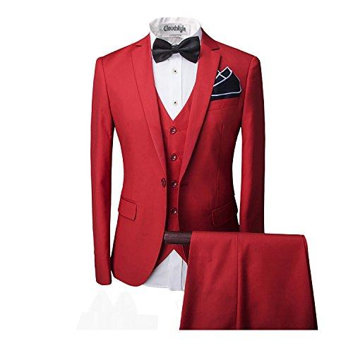 Herren ein knopf Anzug mit Weste +Fliege Hochzeit Party Rot