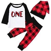 Zarupeng Neugeborenes Baby Jungen Mädchen Langarm Rundhals Pullover Shirt + Gitter Hosen + Hut Set Babykleidung Pyjamas Outfits