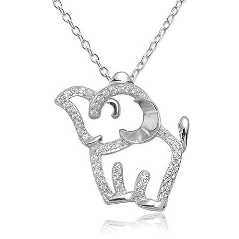 EYS JEWELRY® Damen-Halskette 45 cm Elefant 25 x 24 mm Zirkonia 925 Sterling Silber rhodiniert kristall-weiß im Etui Damenkette
