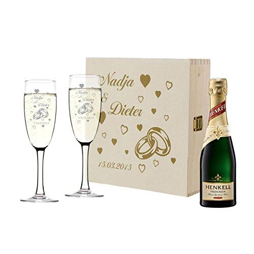 polar-effekt Personalisiert 2 Sektgläser mit Sekt-Flasche im Geschenkbox - Hochzeit Geschenkidee Sektglas-Set mit Gravur - Motiv Ringe mit Herzen