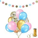 Erosion 37 Stück Gold Konfetti Ballons und blau, Gold und rosa Farbe Latex Ballons, Glitter Papier Garland, Gold Ballon Band für Hochzeit Geburtstag Party Dekorationen liefert