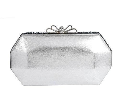 SK Studio Damen Strass Clutch Abendtasche Mit Kette Klein Glänzend Perlen Handtasche Beutel Vintage Glitzer Umhängetasche Schultertaschen Silber