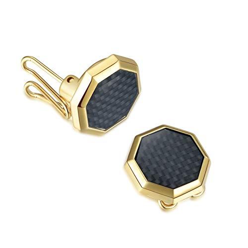 Button Cuff BUTTONCUFF Copribottoni per Camicia – Alternativa ai Gemelli – Ideali per Abiti e Smoking Camicie Eleganti e Casual Ottagono Oro &