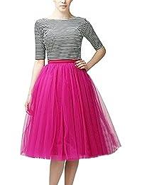 CoutureBridal® Falda ala rodilla de 5 capas Cintura elástica Tutu Princess Tulle