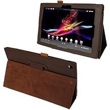 Wkae funda Litchi textura Funda de piel con soporte para Sony Xperia Tablet Z/10.1(color: marrón)