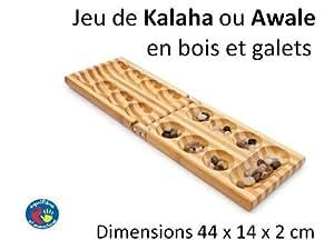 Jeu d'Awale ou de Kalaha en bois pliant