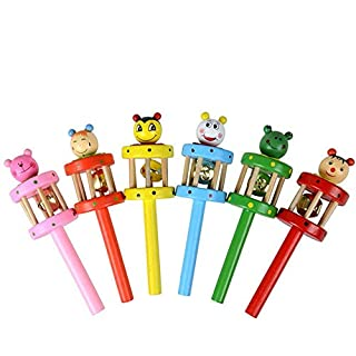 OIKAY Baby Handbell Musical Toy, Cartoon Animal Wooden Handbell Musical Developmental Instrument