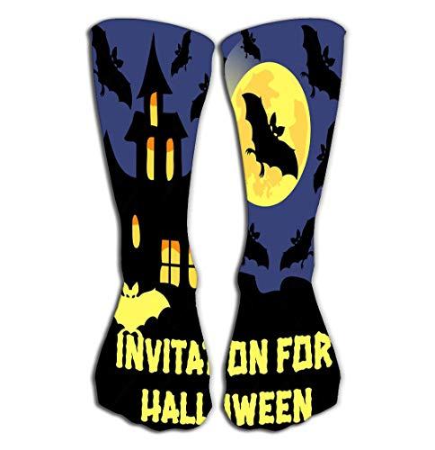BAOLANZHANG Hohe Socken Outdoor Sports Men Women High Socks Stocking Invitation Halloween Party Card Mix Bats Castle Moon Dark Background Dreamy Tile Length 19.7