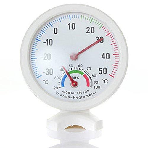 Emvanv TH-108 Tragbares Thermo-/Hygrometer für den Innen- und Außenbereich, digitales Thermometer, Mini-Pointer, Temperaturmessgerät und Wetterstation, weiß, Free Size (In Hotels Th)