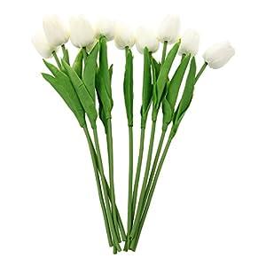 SODIAL(R) 10 Piezas De Tulipan Blanco De Flor De Latex del Tacto Real para El Ramo De Boda KC456