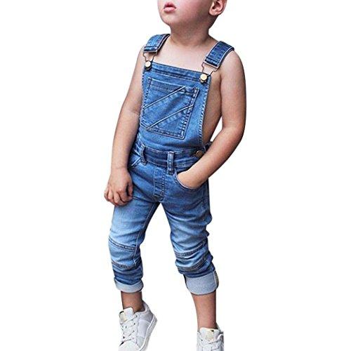 Trada Kinderjeans, Bekleidung Kleinkind Kind Jungen und Mädchen Sommer Frühling ärmellose Jeans Strampler Overalls Backless Hosen Outfits Rompers Jumpsuit Hosen Outfits (80, Blau) (4t Harem Hose)