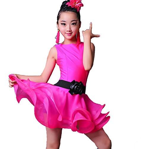 SMACB Lateinisches Kostüm für Kinder Übungskleidung für Kinder Latin Dance Performance Match Wear Rose Green ()