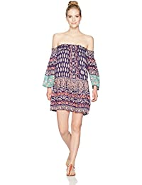 Angie Women's Printed Off the Shoulder Long Sleeve Dress