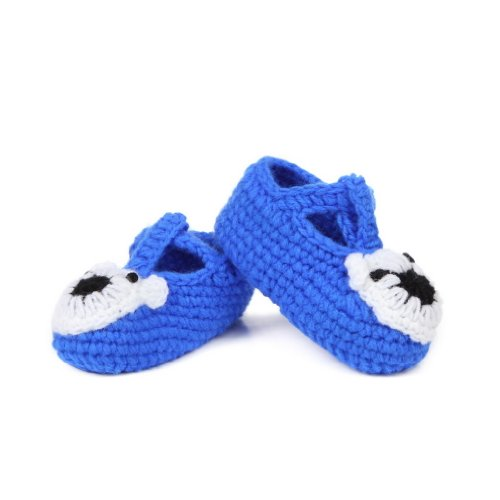 Bigood 0-6 Baby Krabbelschuhe Gestrickte Schuhe flauschige Baby-Unisex Länge 11 cm Sonnenblume Gelbgrün Koala Dunkelblau G