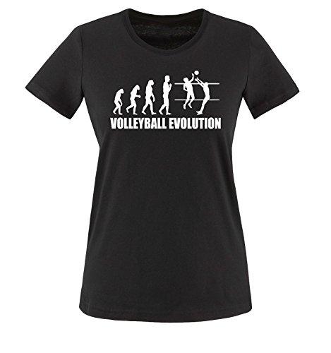 Comedy Shirts - Volleyball Evolution - Damen T-Shirt - Schwarz/Weiss Gr. S