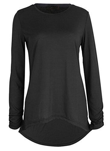 SMITHROAD Damen Shirt Top Langarm Asymmetrisch mit Glitzerndem Dekor Regular Fit Weiß/ Schwarz /Dunkelrose Schwarz