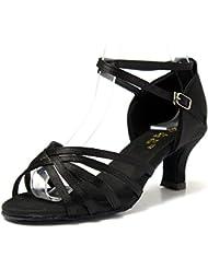 Mujer Zapatos Tacon - Generico 1 par Mujer Zapatos Tacon De Salsa Bachata Latinos Baile Sandalias Latin Shoe, Negro 38
