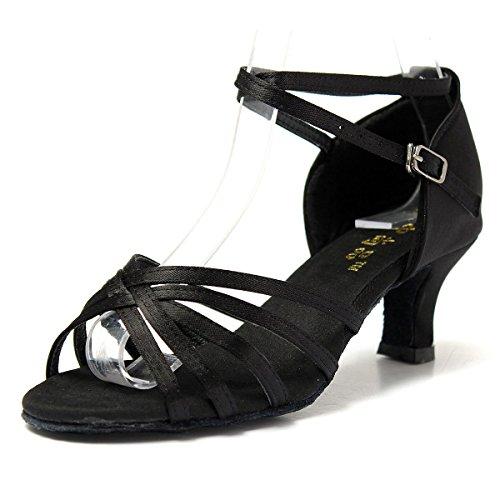 Mujer Zapatos Tacon - Generico 1 par Mujer Zapatos Tacon De Salsa Bachata Latinos Baile Sandalias Latin Shoe, Negro 37