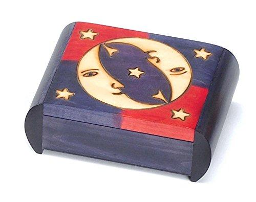 Moon & Stars Secret Puzzle Box Polish Wood Box Handmade Wooden Keepsake Linden Wood Jewelry Box by PolishArt (Made Hand Puzzles)