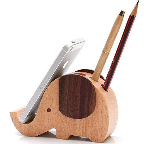 hyfanstr Mini-Holz-Elefant-Kugelschreiber/Bleistift Halter mit Handy Ständer Desktop Lagerung Organizer groß