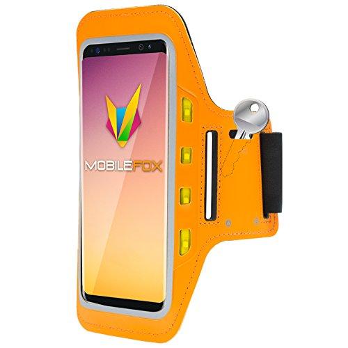 Mobilefox Handytasche Sport Armband mit LED-Licht & Schlüsselfach Sweatproof für 6,0 Zoll Samsung Galaxy S8 Orange - Joggen Schutzhülle Smartphone Halter