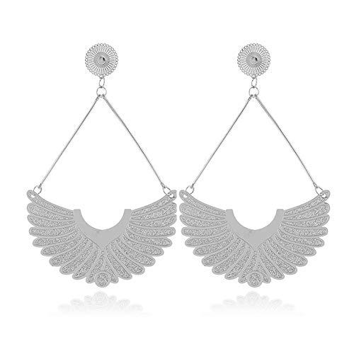 HSUMING Silber Aufsaugung Feather Hollow Wing Metal Dangle Earrings für Frauen Mädchen -