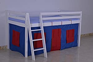 KOSY KOALA Wood cabin bunk bed mid sleeper with under bed tent for kids children boys and girls bed,children furniture,takes 3ft standard single mattress