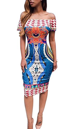 Robe Femme 16 Cocktail Casual Traditionnelle Imprimer africaine Dashiki moulante sexy robe à manches courtes Bleu