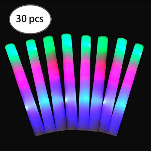 FineInno 50 Stück Mehrfarbig Schaumstoffstab LED Glowstick Party Knicklicht mit 3 Blinkenden Modi Wiederverwendbare für Festivals, Geburtstag, Hochzeit (30 Stück)