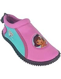 Zapatillas Dora la Exploradora con goma antideslizante, con cordón para sujetar por detrás.