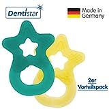 Dentistar® Beißring im 2er-Set - Stern - Zahnungshilfe für Babys ab 3 Monate - Kühlbeißring Baby aus TPE - Made in Germany – Grün, Gelb