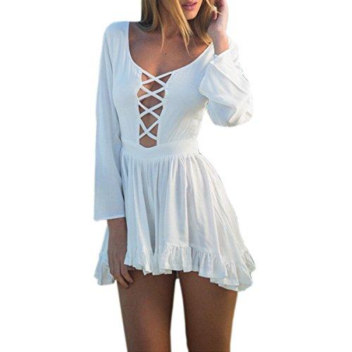 Fanessy Femme Combinaison Jumpsuit Court GrenouillèRes Manches Longues En Bandage Dentelle Jumpsuit GrenouillèRes Combinaisons Pantalons Courts Blanc