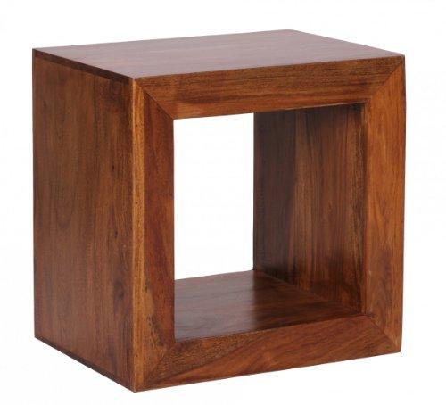 Wohnlng Standregal, Cube, Regal BZW. Beistelltisch aus Sheesham Massivholz; Maße (B/T/H) in cm: 44 x 33 x 44