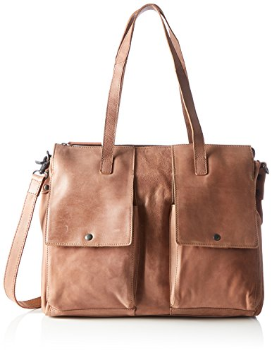 Spikes & Sparrow Damen Zip Bag Henkeltasche, Braun (Cognac), 12x33x41 cm