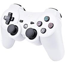 Controlador inalámbrico Bluetooth de Kabi para PS3 con vibración dual de 6 ejes, controlador para Playstation 3, incluye cable de carga blanco Weiß