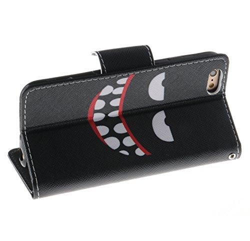 Cozy Hut Custodia iPhone 6 6S (4,7 Zoll) in Pelle, Portafoglio / wallet / libro Flip elegante e di alta qualità con porta carte di credito e banconote Stampa creativa Chiusura Magnetica Protettiva Cov sorriso