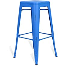 Taburete Tolix Style Vintage - Azul - Inspiración Industrial - 42,5 cm x 42,5 cm x 77 cm - SANTANI MOBILI