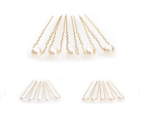 5 épingles à cheveux ornées de perles - accessoire pour cheveux/coiffure de mariée - Épingle à cheveux dorée - beige