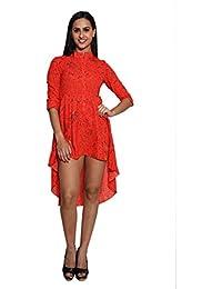 Panit Orange Up & Down Assymetrical Dress