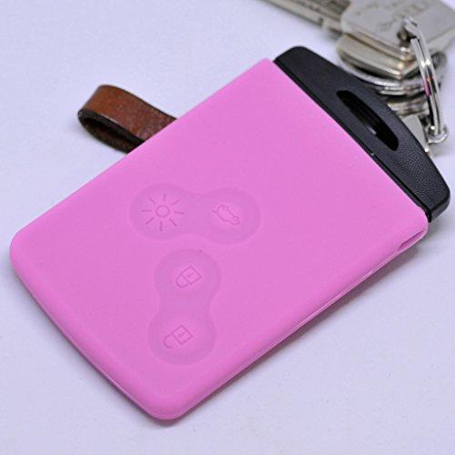 Soft Case Schutz Hülle Auto Schlüssel für Renault Captur Clio Grand Scenic ZOE Schlüsselkarte Remote/Farbe: Rosa Beständig Remote