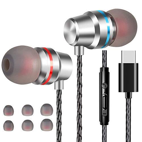Losvick Écouteurs USB Type C Intra-Auriculaires, Écouteurs Filaire [Anti-Bruit Casque] Audio avec Microphone pour Huawei P30 Pro/P20/Mate 20 Pro et Autres appareils d'interface de Type C - Argent