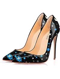 d7efe9c55fa6f MMGZ Femmes - Escarpins - Cuir synthétique -Impression en étoile- Talon  aiguille - Bout