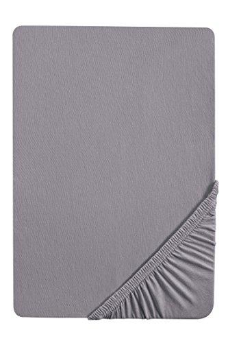 biberna 77144 Jersey-Stretch Spannbetttuch, nach Öko-Tex Standard 100, ca. 180 x 200cm bis 200 x 200cm, silber/grau (Baumwolle Bath Sheet)