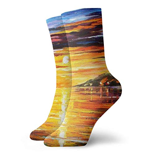Jxrodekz Novelty Funny Crazy Crew Sock Boat Sunset Mountain Oil Painting 3D Printed Winter Sport Athletic Socks 30cm Long Personalized Gift Socks