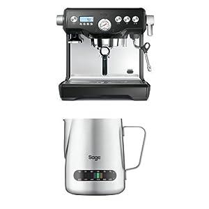 Sage by Heston Blumenthal The Dual Boiler Coffee Machine, 2200 W - Black with The Temp Control Milk Jug, 0.48 L with The Knock Box Mini Bundle