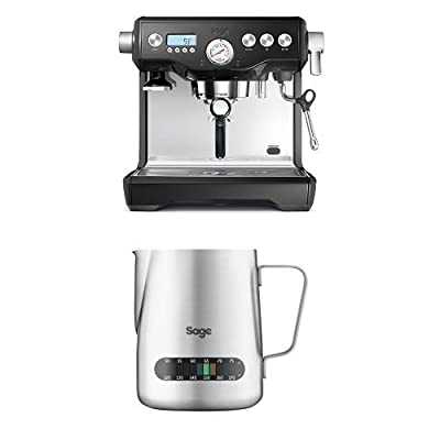 Sage by Heston Blumenthal The Dual Boiler Coffee Machine, 2200 W - Black with The Temp Control Milk Jug, 0.48 L with The Knock Box Mini Bundle