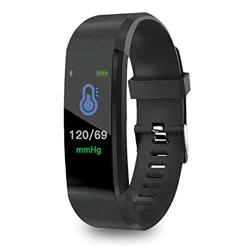 FOONEE ID115PLUS Fitness-Tracker, Fitness-Uhr mit Herzfrequenz-Monitor, Aktivitätstracker, Schlaf-Monitor, Schrittzähler, Kalorienuhr, IP67 Wasserdicht Smart Armband Schrittzähler (Schwarz)