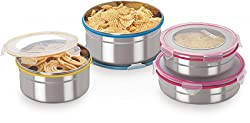 Steel Lock CS-05 Airtight Storage / Food Lock Steel Containers 4 PC Set
