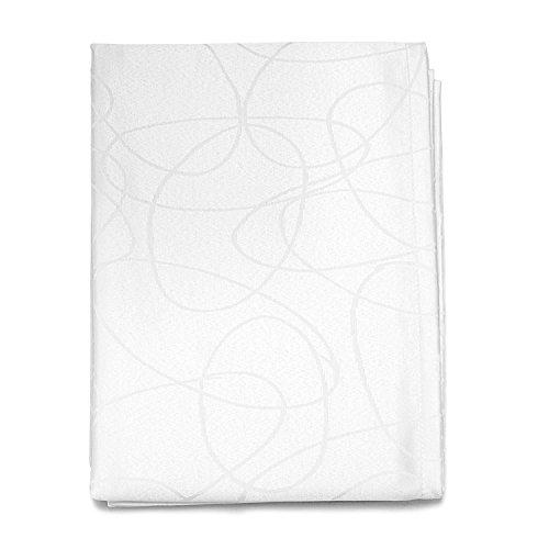 BgEurope Luxuriöse Tischdecke, Anti-Flecken-Behandlung, groß, Weiß Lines, Polyester, weiß, 59 x 118 (150 x 300cm) -